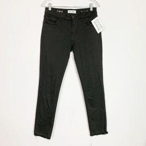 DL1961 | hi rise raw hem skinny ankle black jeans